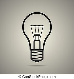 bulb icon in flat style, black and white colors, isolated