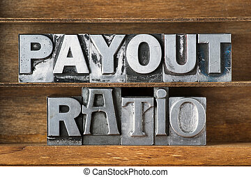 payout ratio tray - payout ratio phrase made from metallic...