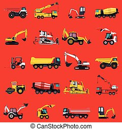 Wallpaper with construction machinery set on red. Ground...