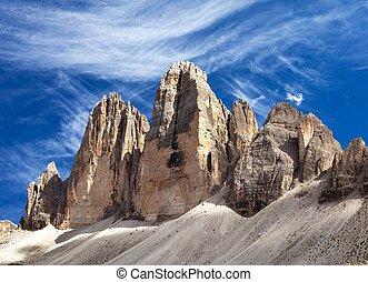 View of Drei Zinnen or Tre Cime di Lavaredo with beautiful...