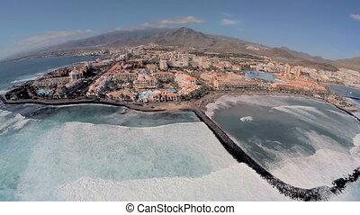 Playa de las Americas in Tenerife, aerial view.