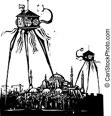 Martian Tripod Istanbul - Woodcut style vintage image of a...