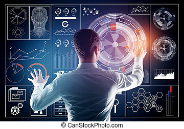 Technology, innovation and analytics concept - Back view of...