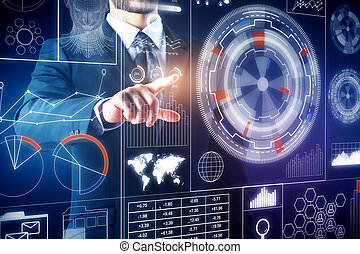 Technology and innovation concept - Hand pointing at...