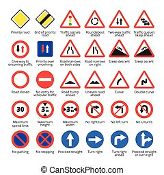 European traffic signs. Vector road icons collection. -...
