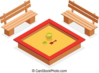 Isometric sandbox with toys and benches. Outdoor furniture vector icon