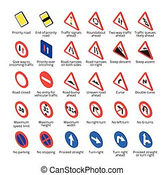 Isometric european traffic signs. Vector road icons...