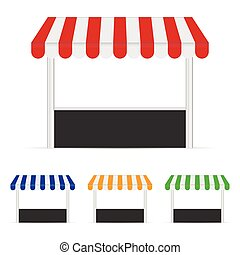 street stall set illustration in colorful