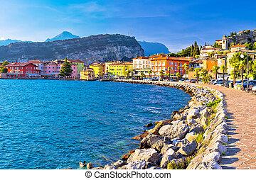 Lago di Garda town of Torbole panoramic view