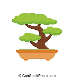Tree Bonsai. japanese tree. on white background, Vector...