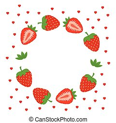 strawberries greeting card - frame with fruits, card with...