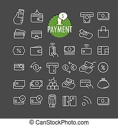 Different payment icons vector collection. Web and mobile...