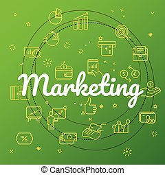 Marketing concept. Different thin line icons included
