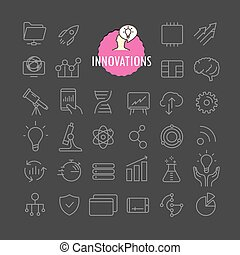 Different innovation icons vector collection. Web and mobile app outline icons set on dark background