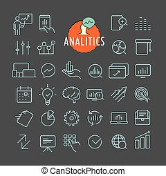 Different analitics icons vector collection. Web and mobile app outline icons set on dark background