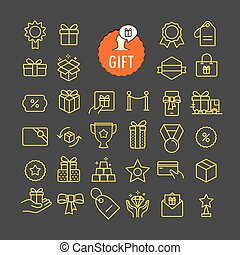 Different gifts icons vector collection. Web and mobile app outline icons set on dark background