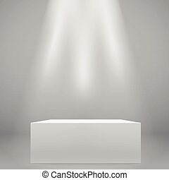 White illuminated wide stand on the wall. Vector mockup