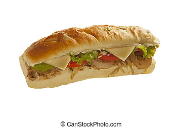 Sub sandwich hoagie with meat and veggies