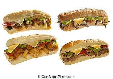 Mighty sub sandwich hoagie with mozarella sticks french...