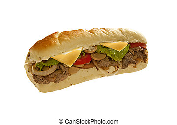 Huge sub sandwich hoagie filled with veggies and meat -...