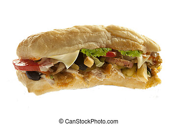 Mighty sub hoagie sandwich with fries meat and veggies