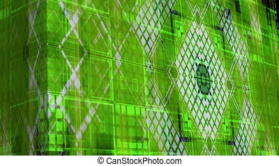 High tech blue green geometric squares VJ looping...