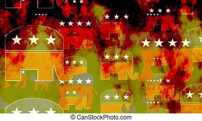 Democrat and republican symbols burning loop - Burning...