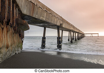 Under Pacifica Municipal Pier at Sunset. - Pacifica, San...