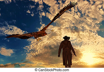 Cowboy at sunset background with an eagle - 3D rendering -...