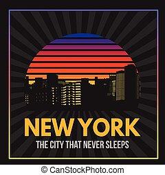 New York typography print design, vector illustration