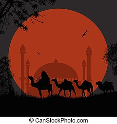 Abstract colorful background with bedouins riding camel and mosque