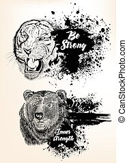 Collection of high detailed vector animals bear and tiger in...