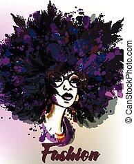 Fashion illustration with beautiful young woman and palm...