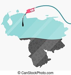 Oil of Venezuela - Map of Venezuela being fueled by oil. Gas...