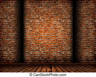 3D interior with a grunge brick wall