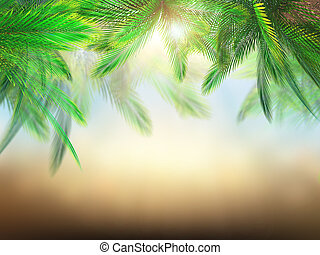 3D palm tree leaves against defocussed background - 3D...
