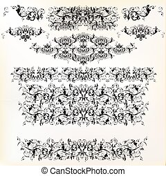 Set of vector floral borders for design.eps