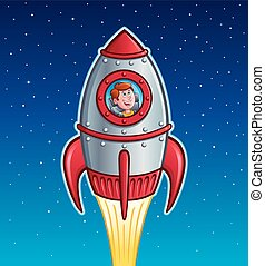 Rocket Ship Boy - Cartoon of a boy looking out the window of...