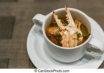 Crab tom yum soup - Thai Crab tom yum spicy chowder soup