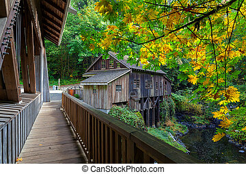 Cedar Creek Grist Mill in Washington State during Fall...