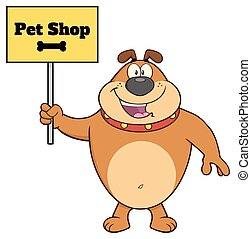 Happy Brown Bulldog Cartoon Mascot Character Holding A Sign With Text Pet Shop
