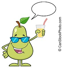 Green Pear Fruit With Sunglasses Cartoon Mascot Character Holding Up A Glass Of Juice
