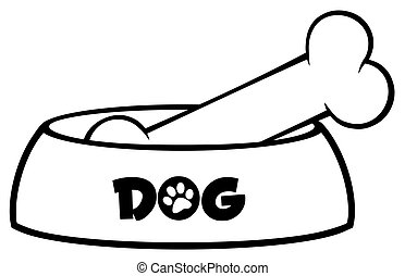Black And White Dog Bowl With Bone Drawing Simple Design