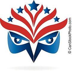 Eagle face symbol USA flag logo