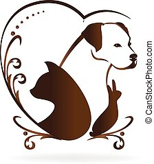 Dog cat bird and rabbit love heart swirly vintage logo
