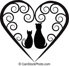 Cat and dog love heart design logo