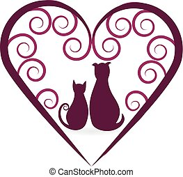 Dog and cat love heart vintage logo