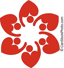 Teamwork love heart shape logo concepto of helping and...