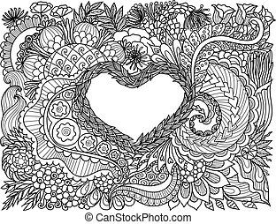 heart floral - Line art design of beautiful abstract flowers...