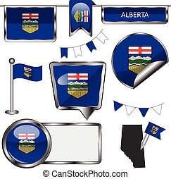 Glossy icons with flag of province Alberta - Vector glossy...